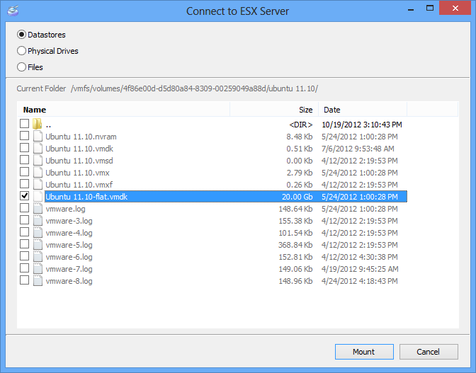 Mounting ESX/ESXi Server Disks or VMDK files| DiskInternals