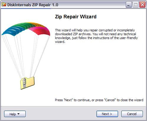 Fix zip file with DiskInternals ZIP Repair| DiskInternals