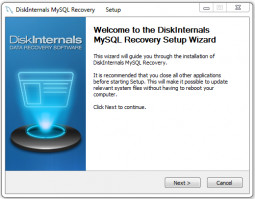DiskInternals MySQL Recovery - Here is a setup window