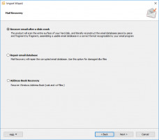 Outlook Wizard Recovery - select the recovery mode