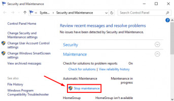 Click on Stop maintenance