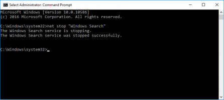 type command: net stop windows search in Command Prompt