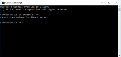 Chkdsk cannot open volume for direct access.